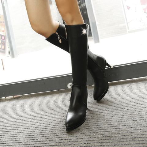 PU Pure Color Pointed Toe Side Zipper Crystal Stiletto Heel Knee High Boots 9 Black