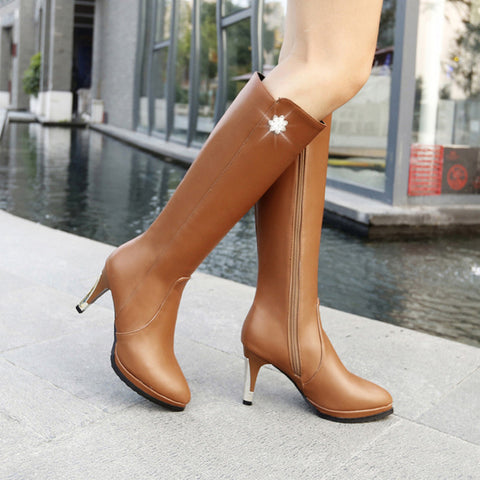 PU Pure Color Pointed Toe Side Zipper Crystal Stiletto Heel Knee High Boots 8.5 Brown