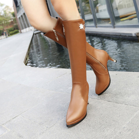 PU Pure Color Pointed Toe Side Zipper Crystal Stiletto Heel Knee High Boots 9.5 Brown