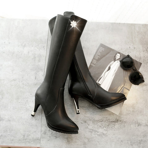 PU Pure Color Pointed Toe Side Zipper Crystal Stiletto Heel Knee High Boots 9.5 Black