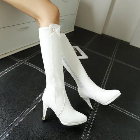 PU Pure Color Pointed Toe Side Zipper Crystal Stiletto Heel Knee High Boots 9 White