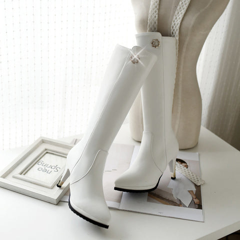 PU Pure Color Pointed Toe Side Zipper Crystal Stiletto Heel Knee High Boots 9.5 White
