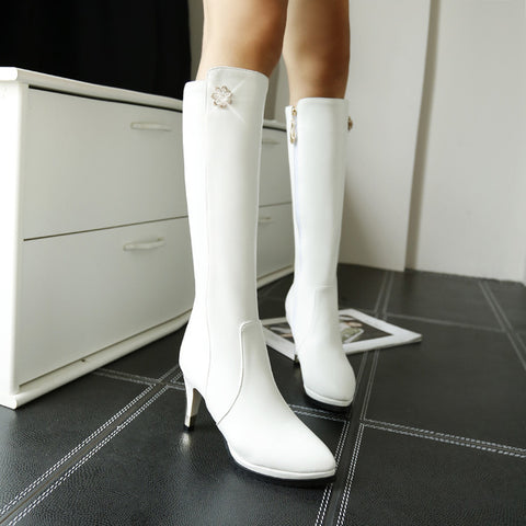 PU Pure Color Pointed Toe Side Zipper Crystal Stiletto Heel Knee High Boots 8.5 White