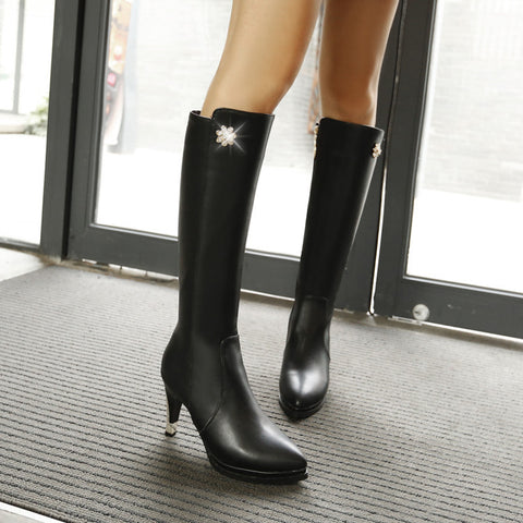 PU Pure Color Pointed Toe Side Zipper Crystal Stiletto Heel Knee High Boots 8.5 Black