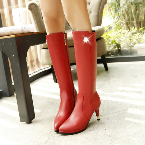 PU Pure Color Pointed Toe Side Zipper Crystal Stiletto Heel Knee High Boots 8.5 Red