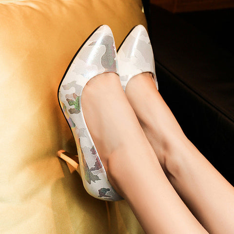 PU Mixed Color Pointed Toe Low-cut Stiletto Heel Pumps 7 White