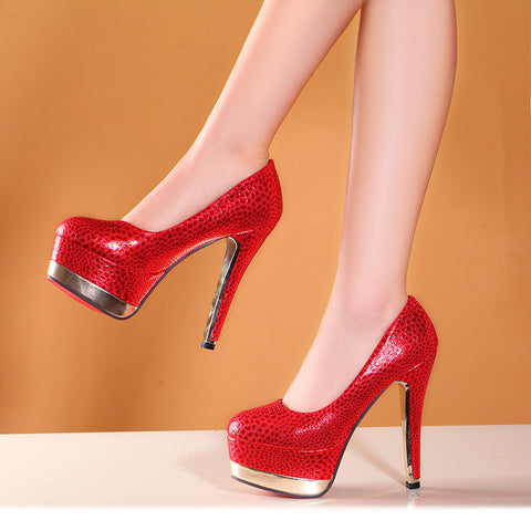 PU Mixed Color Round Toe Leopard Print Double Platform Stiletto Heel Pumps 41 Red
