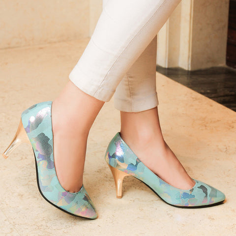 PU Mixed Color Pointed Toe Low-cut Stiletto Heel Pumps 7.5 Light blue