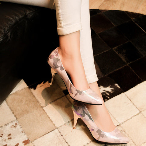 PU Mixed Color Pointed Toe Low-cut Stiletto Heel Pumps 8 Pink