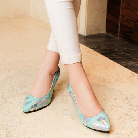 PU Mixed Color Pointed Toe Low-cut Stiletto Heel Pumps 8 Light blue