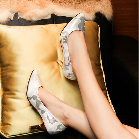 PU Mixed Color Pointed Toe Low-cut Stiletto Heel Pumps 7.5 White