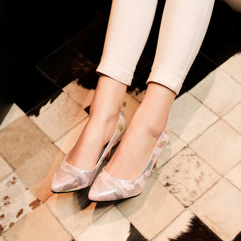 PU Mixed Color Pointed Toe Low-cut Stiletto Heel Pumps 7.5 Pink
