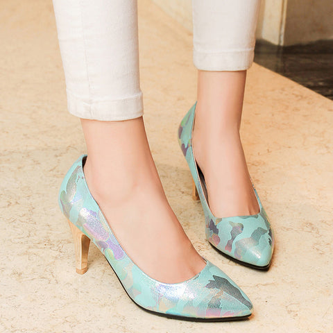 PU Mixed Color Pointed Toe Low-cut Stiletto Heel Pumps 7 Light blue