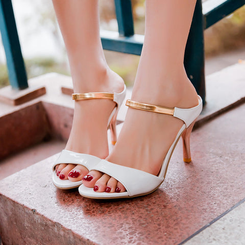 PU Candy Color Open-toe Metal Stiletto Heel Sandals 41 White