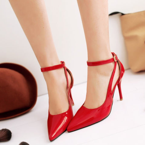Patent Leather Pure Color Pointed Toe Stiletto Heel Ankle Strap Sandals 8.5 Red