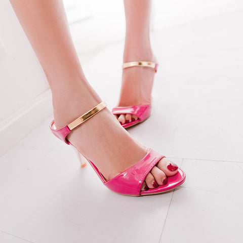 PU Candy Color Open-toe Metal Stiletto Heel Sandals 41 Rose