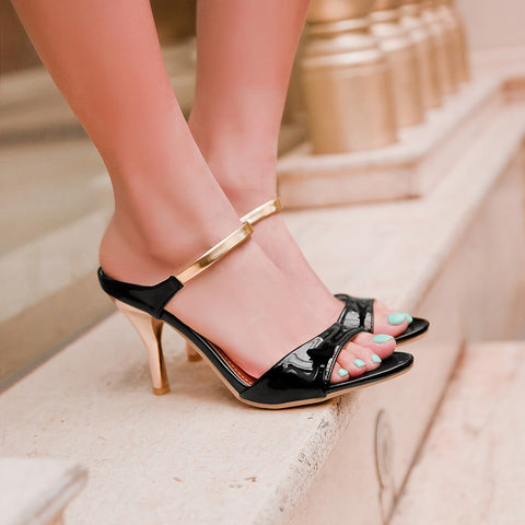 PU Candy Color Open-toe Metal Stiletto Heel Sandals 41 Black