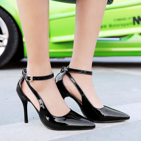 Patent Leather Pure Color Pointed Toe Stiletto Heel Ankle Strap Sandals 8.5 Black