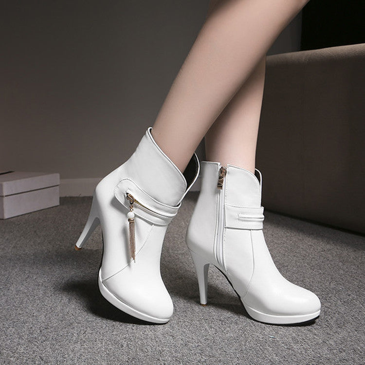 PU Pure Color Round Toe Stiletto Heel Metal Chain Side Zipper Short Boots 41 White