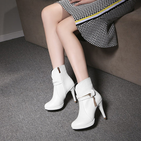 PU Pure Color Round Toe Stiletto Heel Metal Chain Side Zipper Short Boots 42 White