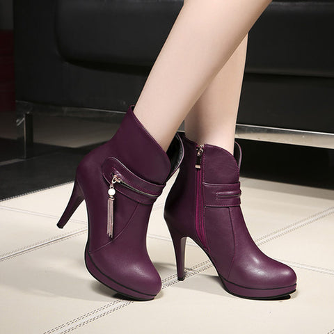 PU Pure Color Round Toe Stiletto Heel Metal Chain Side Zipper Short Boots 41 Wine red