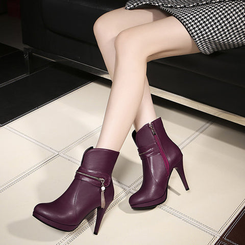 PU Pure Color Round Toe Stiletto Heel Metal Chain Side Zipper Short Boots 42 Wine red