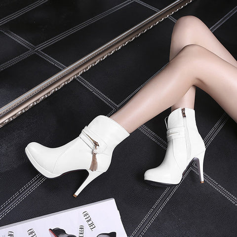 PU Pure Color Round Toe Stiletto Heel Metal Chain Side Zipper Short Boots 43 White