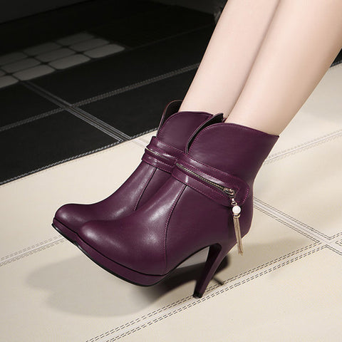 PU Pure Color Round Toe Stiletto Heel Metal Chain Side Zipper Short Boots 43 Wine red