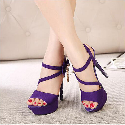 PU Pure Color Open-toe Bowtie Crystal Stiletto Heel Slingback Sandals 39 Grape