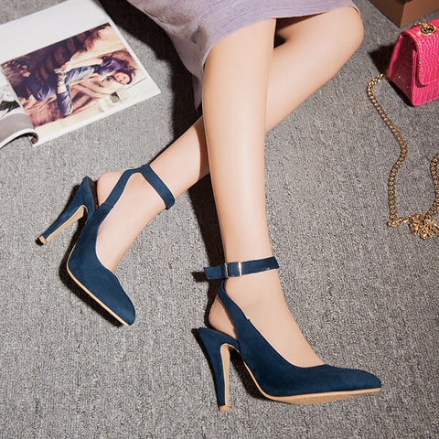 PU Pure Color Pointed Toe Stiletto Heel Ankle Strap Slingback Sandals 9.5 Dark blue