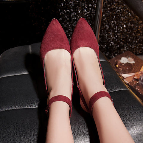 PU Pure Color Pointed Toe Stiletto Heel Ankle Strap Slingback Sandals 9 Wine red