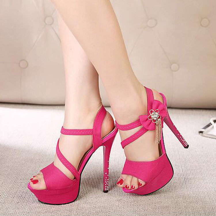 PU Pure Color Open-toe Bowtie Crystal Stiletto Heel Slingback Sandals 39 Rose