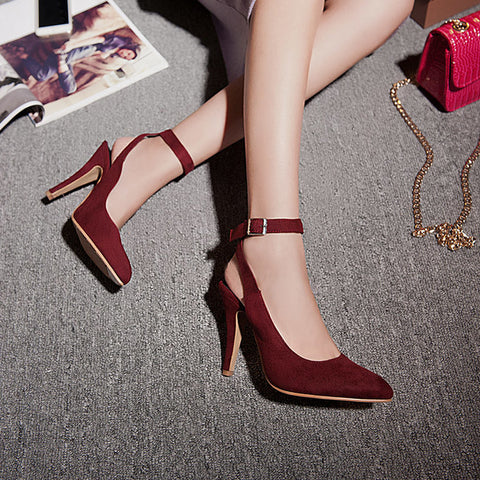 PU Pure Color Pointed Toe Stiletto Heel Ankle Strap Slingback Sandals 9.5 Wine red