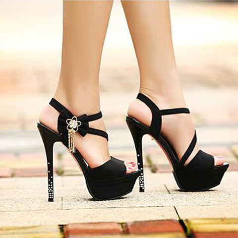 PU Pure Color Open-toe Bowtie Crystal Stiletto Heel Slingback Sandals 38 Black