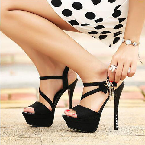 PU Pure Color Open-toe Bowtie Crystal Stiletto Heel Slingback Sandals 39 Black