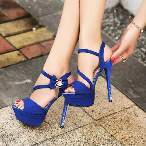 PU Pure Color Open-toe Bowtie Crystal Stiletto Heel Slingback Sandals 39 Dark blue