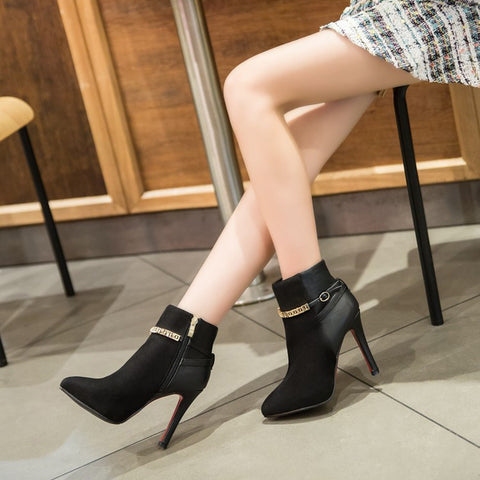 Suede Pure Color Pointed Toe Stiletto Heel Metal Buckle Side Zipper Ankle Boots 7 Black