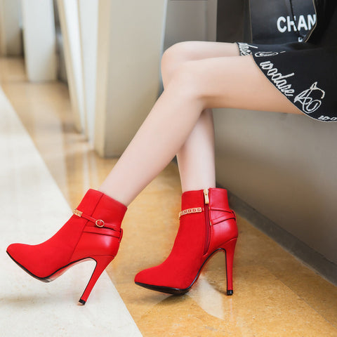 Suede Pure Color Pointed Toe Stiletto Heel Metal Buckle Side Zipper Ankle Boots 7 Red
