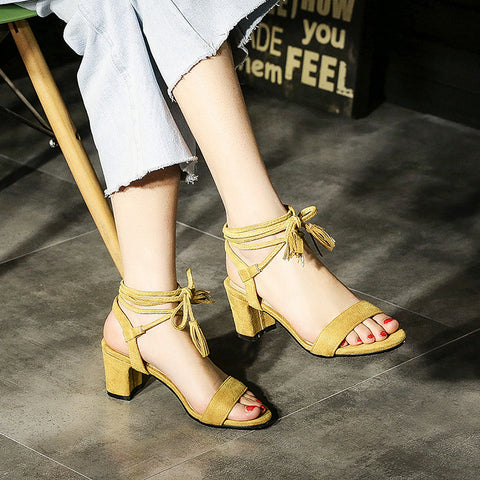 Suede Bohemian Open Toe Chunkey Heel Cross Strap Lace Up Pumps 7 Yellow