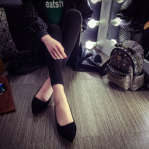Suede Casual Pure Color Pointy Toe Flat Heel Loafers 7 Black