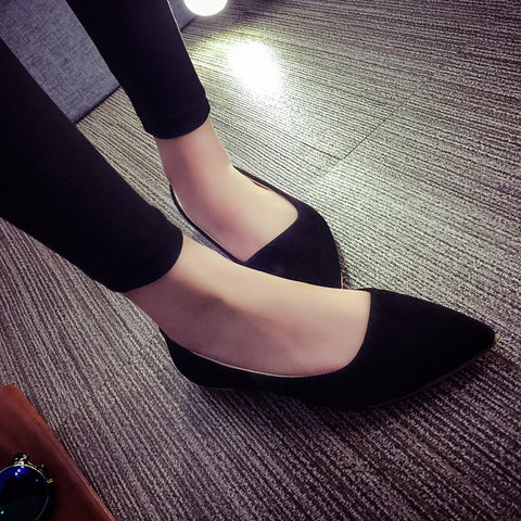 Suede Casual Pure Color Pointy Toe Flat Heel Loafers 7.5 Black