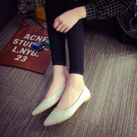 Suede Casual Pure Color Pointy Toe Flat Heel Loafers 7.5 Grey