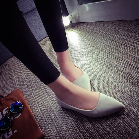Suede Casual Pure Color Pointy Toe Flat Heel Loafers 7 Grey