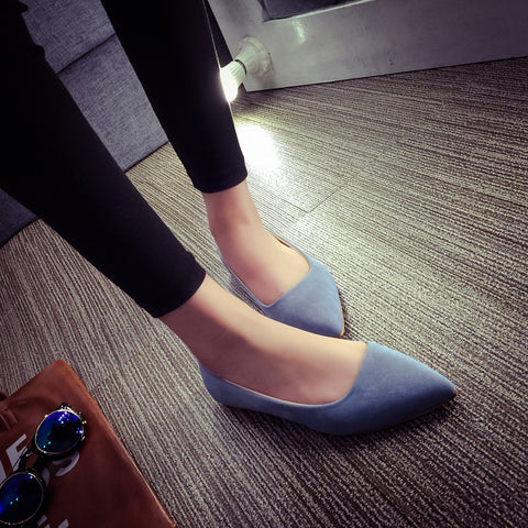 Suede Casual Pure Color Pointy Toe Flat Heel Loafers 7.5 Blue