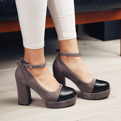 Suede Mixed Color Round Toe Block Heel Ankle Strap Pumps 8.5 Coffee