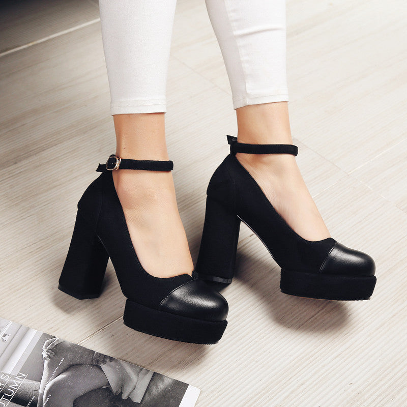 Suede Mixed Color Round Toe Block Heel Ankle Strap Pumps 8.5 Black