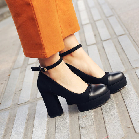 Suede Mixed Color Round Toe Block Heel Ankle Strap Pumps 9 Black