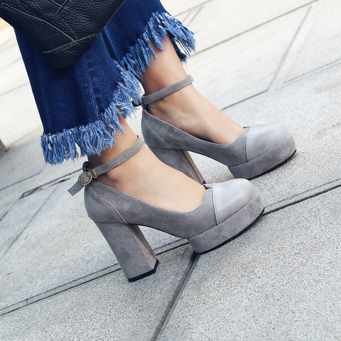 Suede Mixed Color Round Toe Block Heel Ankle Strap Pumps 8.5 Grey