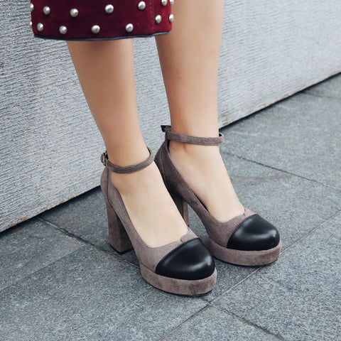 Suede Mixed Color Round Toe Block Heel Ankle Strap Pumps 9 Coffee