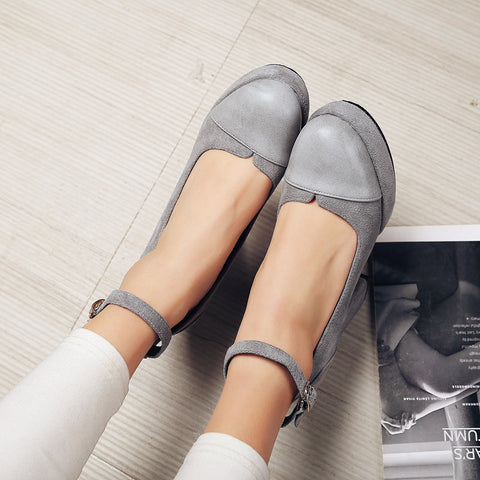 Suede Mixed Color Round Toe Block Heel Ankle Strap Pumps 9 Grey